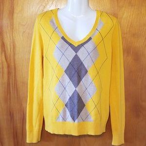 Izod Mustard Sweater,  Diamond Pattern, M